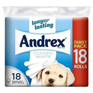 b6b205a7f201 Andrex Classic White Rotoli Di Carta Igienica Tissue - 240 Fogli Per Rotolo  (18) (Confezione da 2): Amazon.it: Casa e cucina