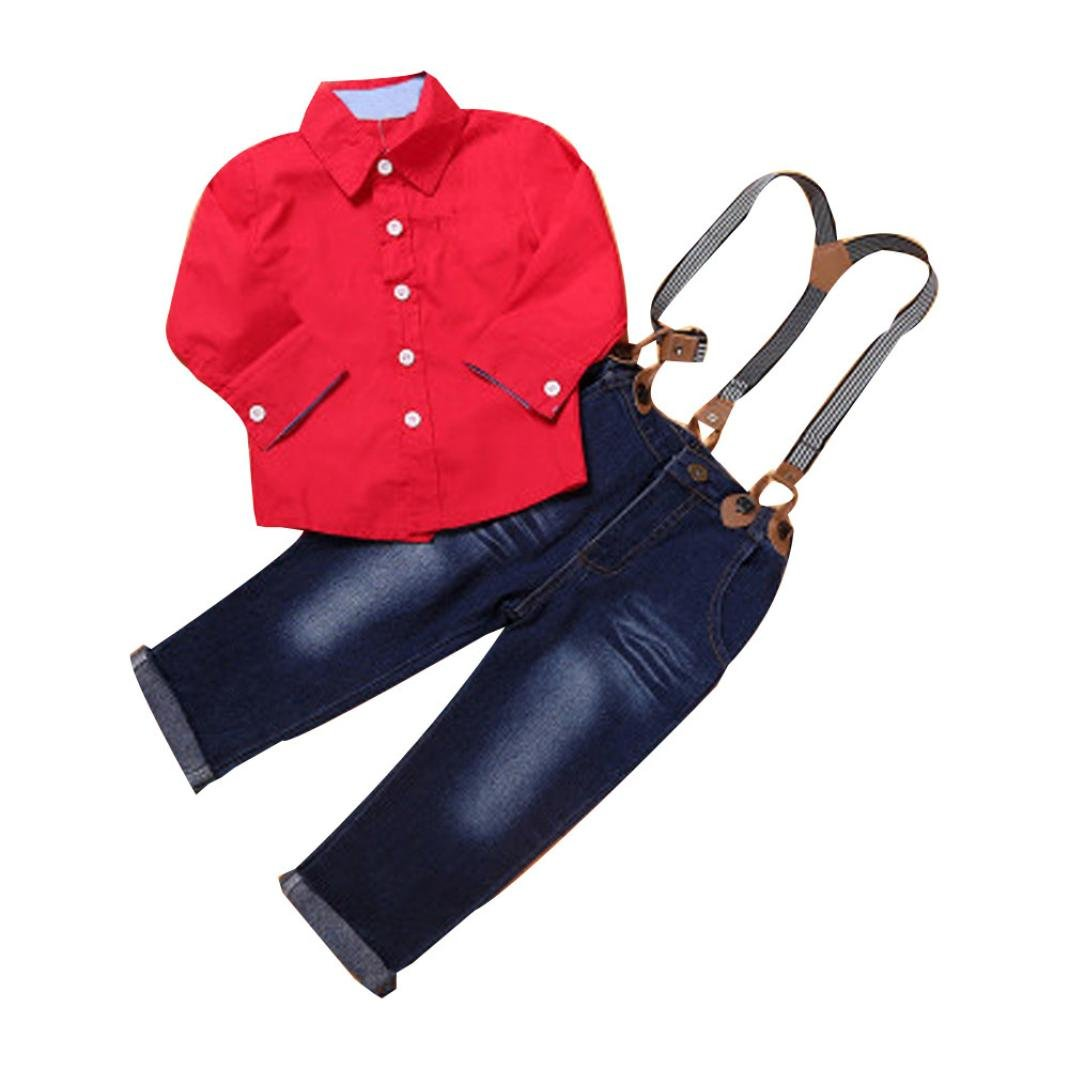 Napoo 1Set Kids Toddler Boys Handsome Red Button Shirt+Braces Jeans Trousers Clothes Outfits (3T, Red) by Napoo