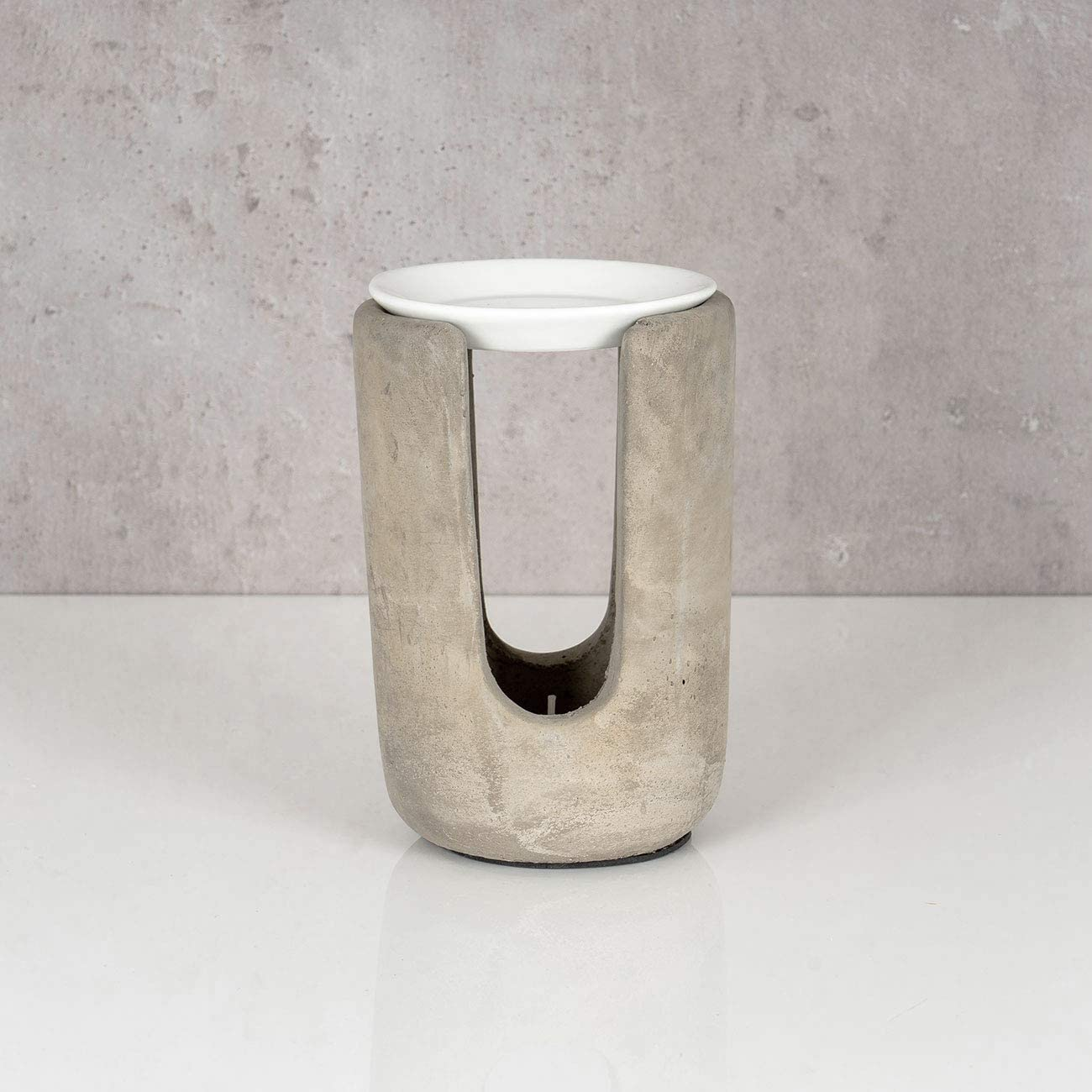 Duftlampe Beton Wei/ß 10x15cm inkl 2X Teelicht Tischdeko Teelichthalter Aroma Aromalampe Raumduft Deko Betondeko