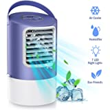 HAUEA Personal Air Cooler Mini Evaporative Cooler,3 Speeds Quiet Desk Air Conditioning Fan Misting Personal Air Conditioner with 2H/4H Timer, Perfect for Home Office Bedroom