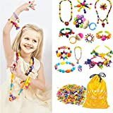 370 Pcs Arty Snap Pop Beads Set with Storage Bag, Creative DIY Jewelry Kit for Headwear Necklace Earrings Bracelets Rings, Idea Art Crafts Gifts Toys for 4,5,6,7,8 Years Old Kids Toddlers Girls