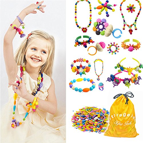 370 Pcs Arty Snap Pop Beads Set with Storage Bag, Creative DIY Jewelry Kit for Headwear Necklace Earrings Bracelets Rings, Idea Art Crafts Gifts Toys for 4,5,6,7,8 Years Old Kids Toddlers Girls by XFee