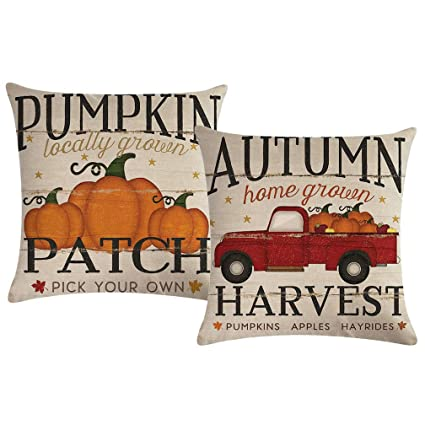 ULOVE LOVE YOURSELF 2pack Pumpkin Patch Throw Pillow Covers Autumn Harvest with Vintage Red Truck Farmhouse Decorative Cushion Covers Pillowcases,18×18 Inches best autumn throw pillows