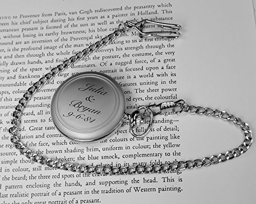 Personalized Brushed Silver Pocket Watch Engraved Free
