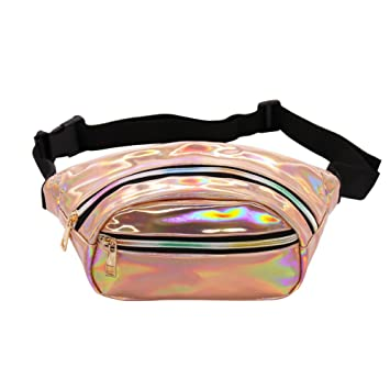 2e28a5fb7a Hengreda Holographic Fanny Pack Women Laser Bum Bag Travel Beach ...