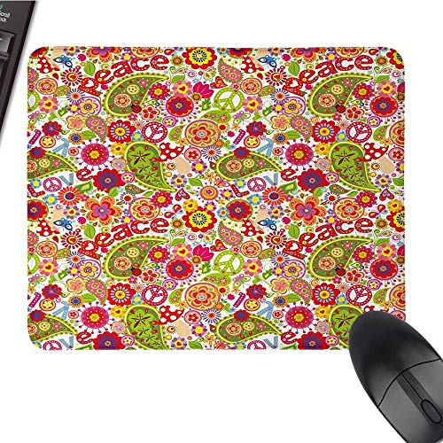 (70s Partycomputer Mouse padFestive Hippie Childish Composition of Mushrooms Poppies Peace Fun Work of ArtBlack Cloth Mousepad 9.8