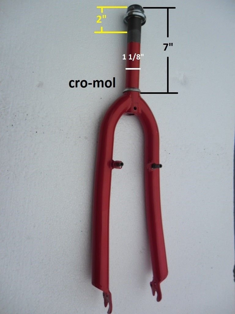 26'' Bike cro-mol front fork 1-1/8 '' threaded headset heavy duty fork red
