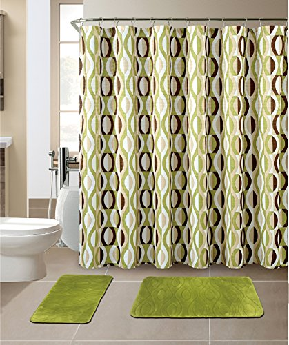 All American Collection New 15 Piece Bathroom Mat Set Memory Foam with Matching Shower Curtain (Helix Sage)