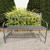 stabile 2-Sitzer Garten Bank Metall mit schönen Verzierungen 110cm Eisenbank anthrazit grau NEU