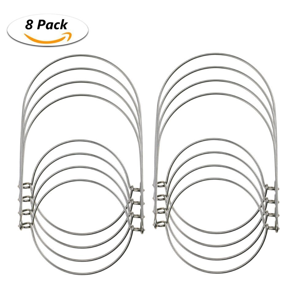 Lembeauty 8pcs Wire Handles Mason Jar Mason Solar Light, Stainless Steel Jar Hanger Hanging Hook Air Plant Candle Canning Jars