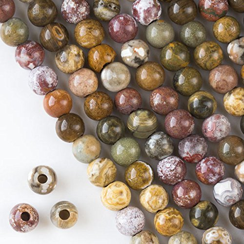 Cherry Blossom Beads Large Hole 2.5mm Drilled Ocean Jasper Beads 8mm Smooth Round - 8 Inch Strand