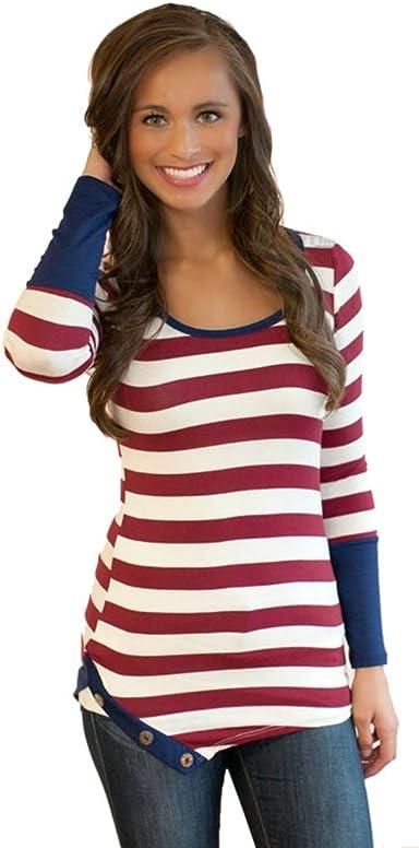 WanYang Mujeres Vestidos Manga Larga Camiseta Rayada T Shirt ...