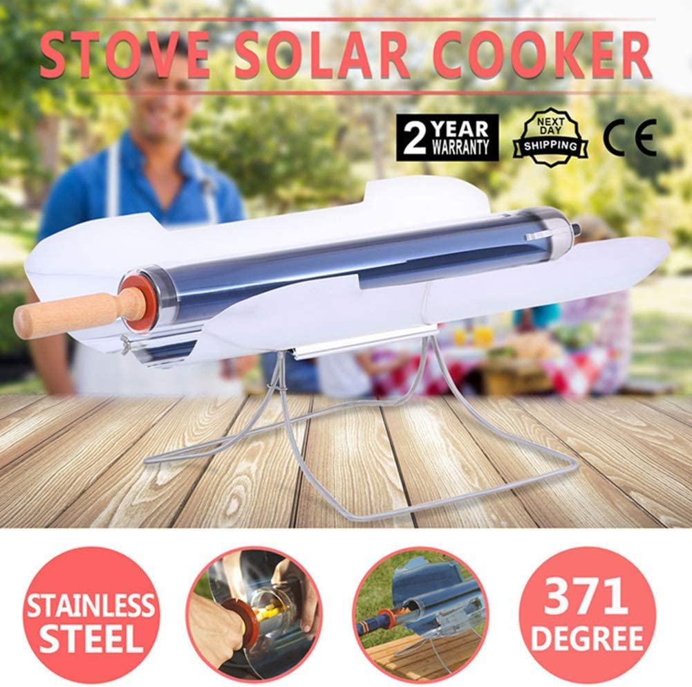 MXX Solar Stove, Portable Solar Oven for Picnic with 1.4L Large Capacity Vacuum Tube and Adjustable 304 Food Grade Stainless Steel Baking Tray, Fuel Free Barbecue, Clean and Health