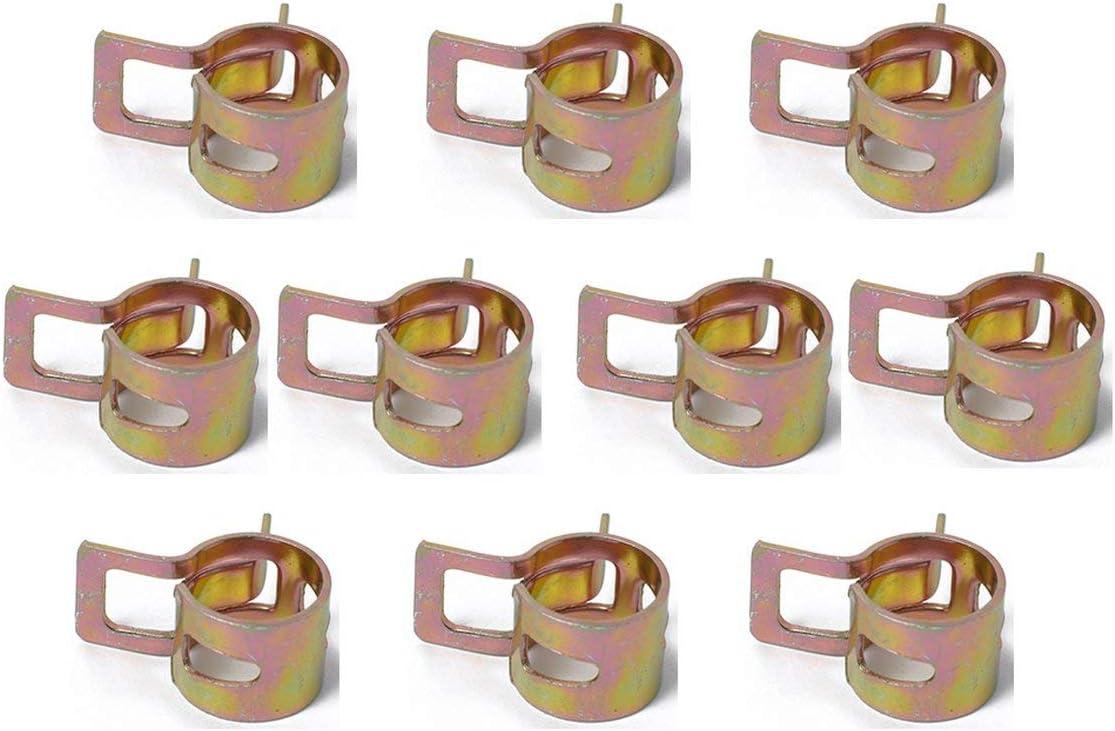 yaoyan Collier de Tuyau de Tuyau de Serrage pour Automobile 10 Set Ressort Cerceau 65 Pince /élastique en Acier au mangan/èse Facile /à Installer 20mm Dor/é