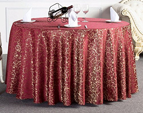 Damask Overlays (Uforme Fashion Jacquard Damask Table Cover Round 120 Inch Overlay Table Cloth Stain Resistant with Surged Edge for Restaurant, Burgundy)