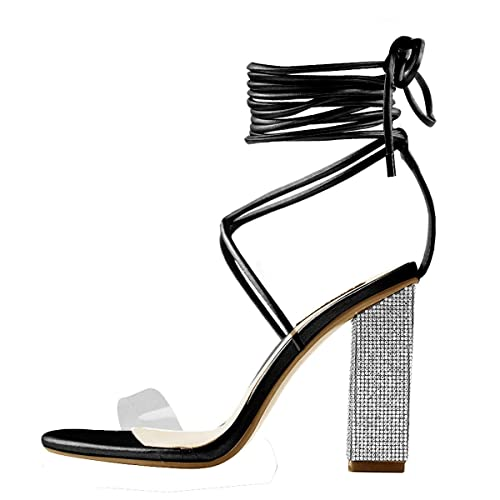 b73a74590f4 Onlymaker Women's Gladiator Ankle Strap Clear Rhinestone Lace up Chunky  High Heel Strappy Sandals