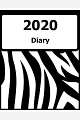 "2020 Diary: Large Print, (Black Zebra Pattern Cover) - 8"" x 10"" - Months, Important Dates, Weekly Planner - Simple layout. Large Print. Easy to use for visually impaired Paperback"