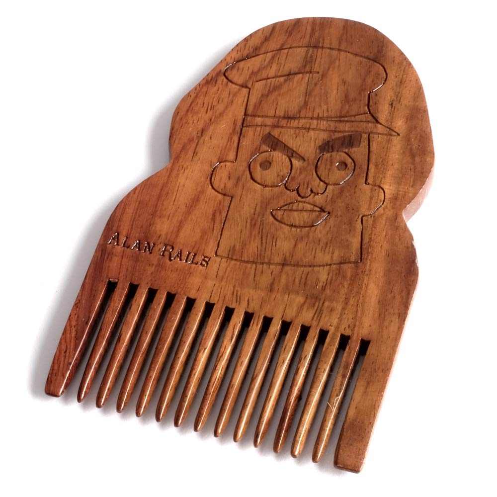 Vindicators Alan Rails Season 3 Episode 4 - BEARD GAINS Fine Tooth Pocket Beard Comb, Control and Groom Facial Hairs with Portable Wooden Beard Shaping Tool | MADE IN USA