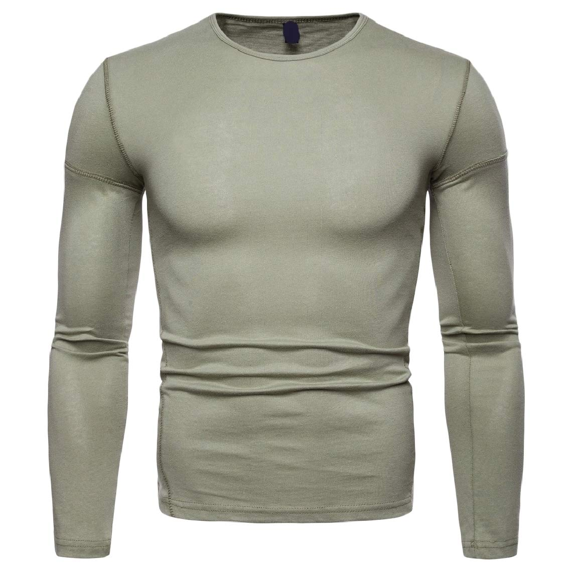 Mirrliy Mens Cozy Solid Crew Neck Fit Long-Sleeve Pullover Tees Top