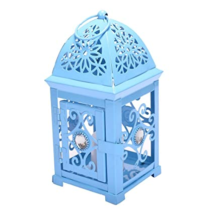 2beffe022e Scrafts Metal Flower Single Stone Antique Cage Small Blue Candle Holder  Party Cafe Candle Stand Lantern