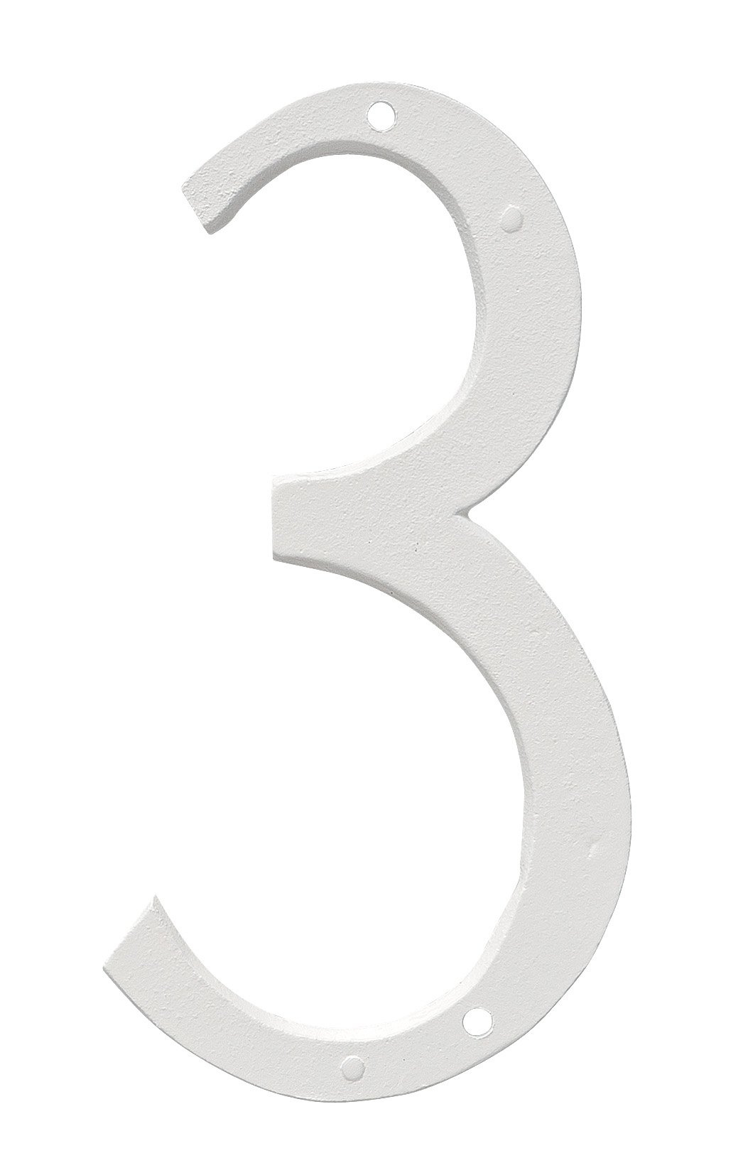 Montague Metal Products CSHN-12-3-W Aluminum House Number 3 Outdoor Plaque, Medium, White