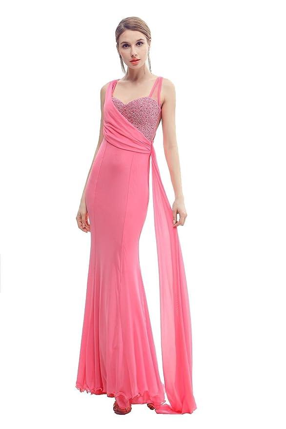 Beauty-Emily Corte Sirena plisada Watteau del tizón Maxi vestido de ...