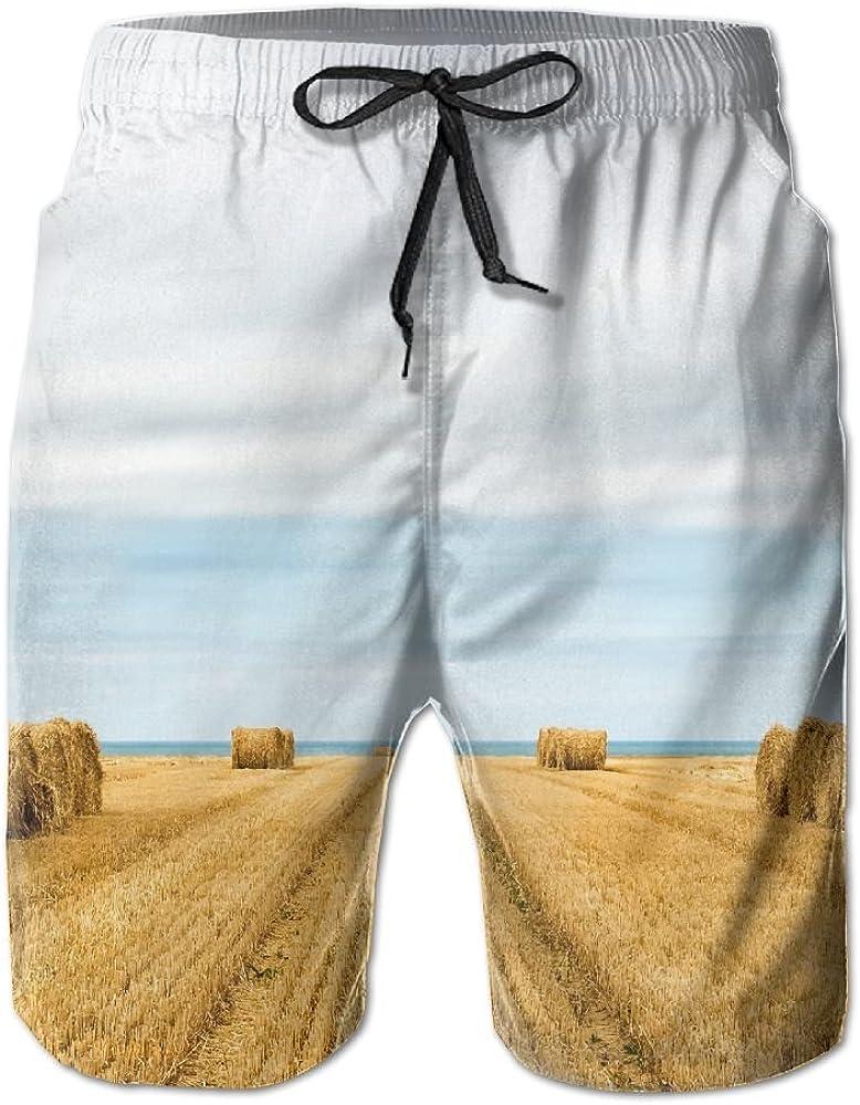 Mens Landscape Field Sky Quick Drying Ultra Light Short Pants Swim Trunks