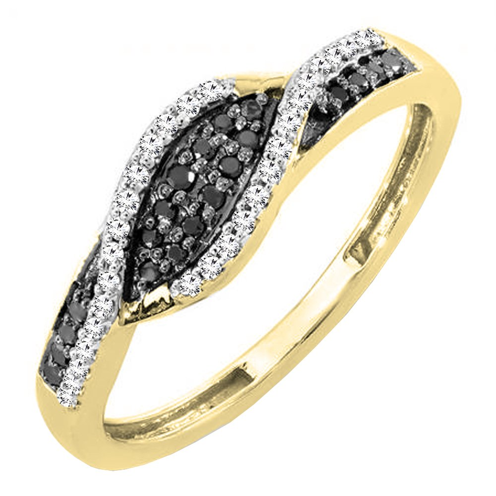 0.22 Carat (ctw) 14K White Gold Black & White Diamond Ladies Right Hand Ring 1/4 CT (Size 7)
