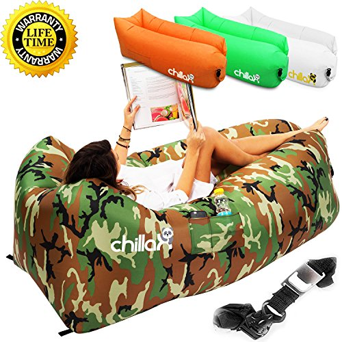 ChillaX Inflatable Lounger Hammock - Best Air Lounger for Travelling, Camping, Hiking - Ideal Inflatable Couch for Pool and Beach Parties - Perfect Air Chair for Picnics or Festivals - Mens Melbourne Shopping