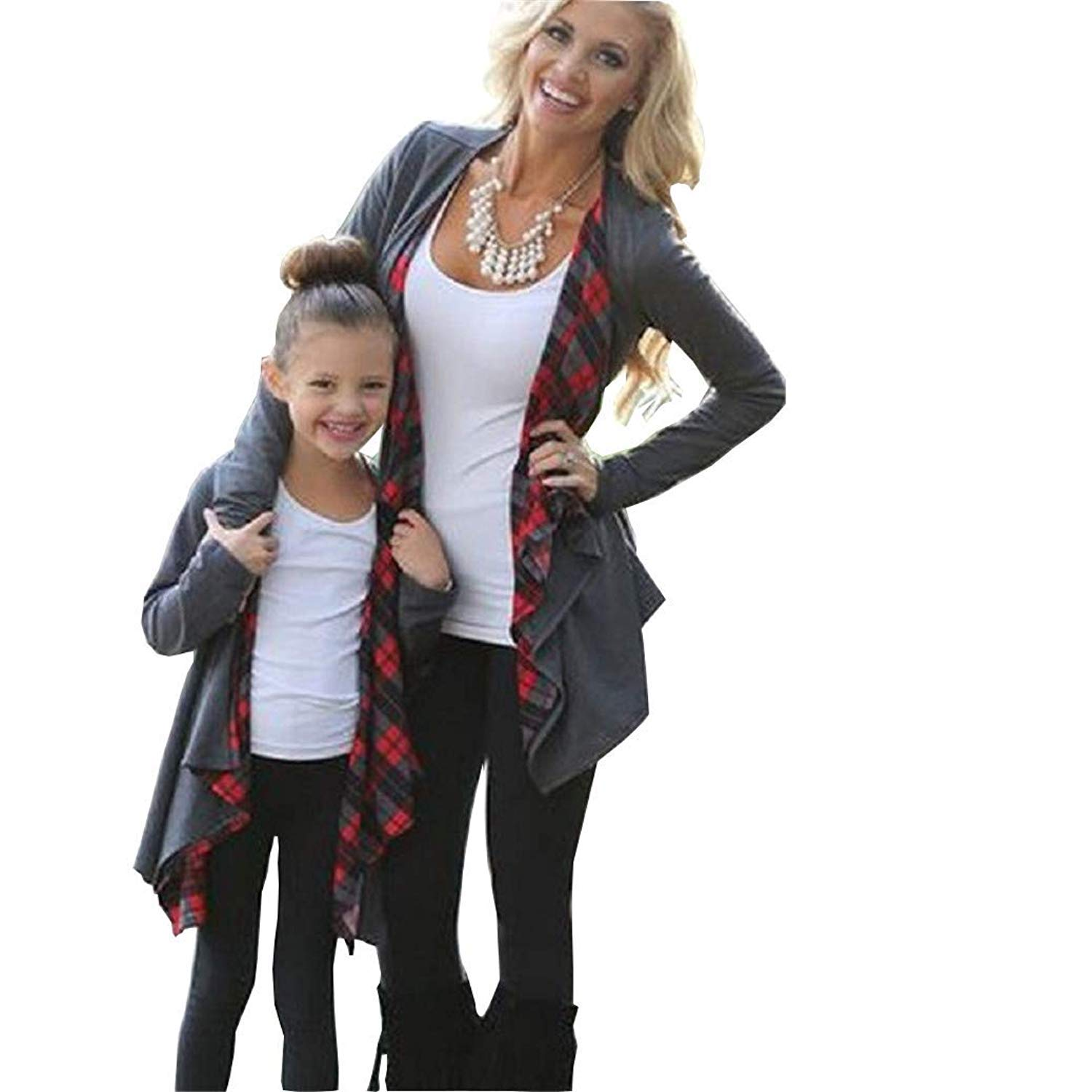 ZAWAPEMIA Mommy and Me Cardigan with Plaid Long Sleeve Open Front Sweater