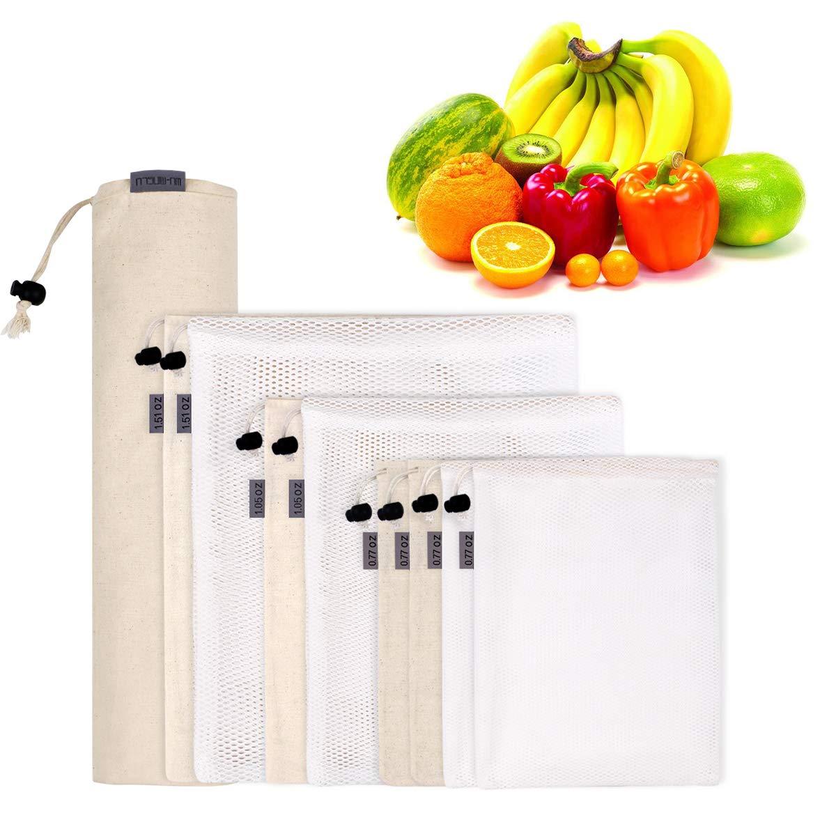 9er Set Obst&Gemüsebeutel,WU-MINGLU Einkaufstaschen wiederverwendbar Gemüsenetze robuste Kartoffelsack Brotbeutel Baumwolle Einkaufsnetze Kordelzug Tasche Aufbewahrungsbeutel für Einkaufen und Haushalt
