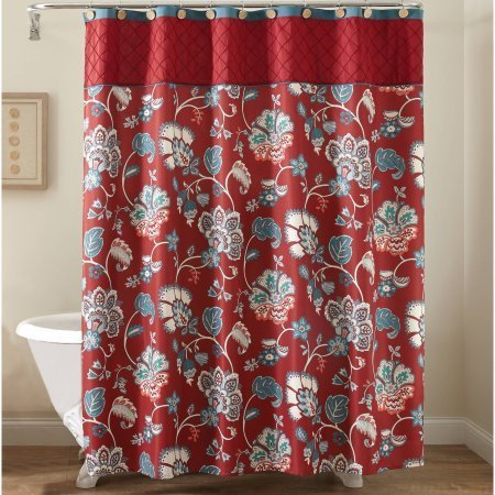 Better Homes and Gardens Red Jacobean Fabric Shower Curtain from Better Homes & Gardens
