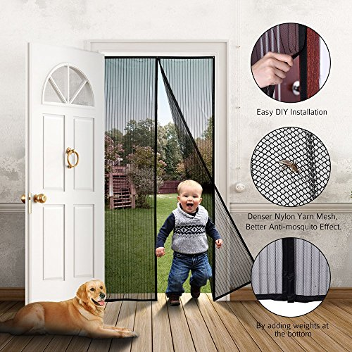 Door Nativity - ONYADD df-1 Magnetic Screen Heavy Duty Mesh Curtain and Full Frame Hook&Loop FITS Door Size up to 36