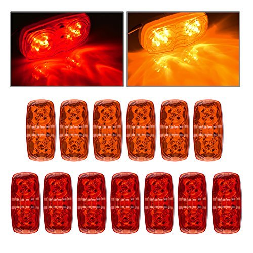 ACUMSTE 7ps Red +6ps Amber 12V Double Bullseye Side Marker Lights 10 LED Trailer Marker Lights Bulls Tiger Eye Amber Trailer Clearance Light for RV, Trailers, Campers.4''x2'' (7 red +6 amber)