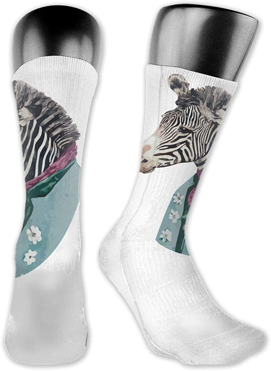 Unisex High Ankle Cushion Crew Socks Funny Zebra Casual Sport Socks