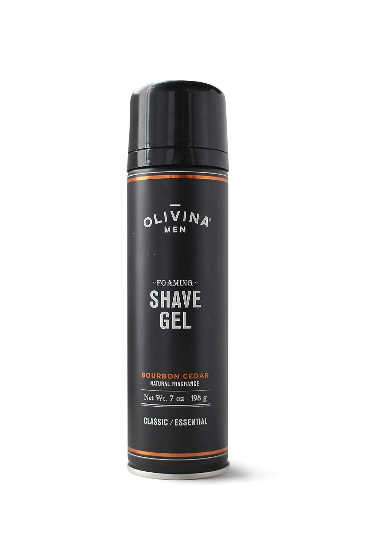 Olivina Men Foaming Shave Gel, Bourbon Cedar, 7 Fluid Ounce