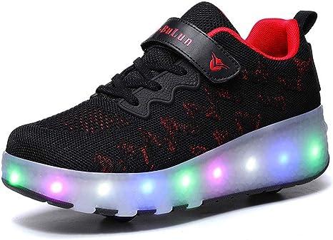 XZzry Led Zapatos del Patín De Ruedas con El Doble Ruedas De Polea Unisex Zapatillas De Gimnasia Zapatillas De Deporte: Amazon.es: Deportes y aire libre