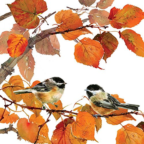 Paperproducts Design Lunch Napkin with Exquisite Autumn Birds Design, 6.5 x 6.5