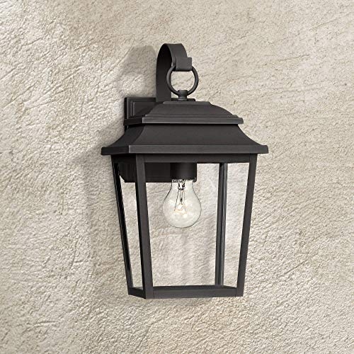 (Bellis Verde Outdoor Wall Light Fixture Texturized Black Steel 15 1/4