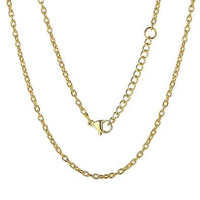 ChainsPro 2MM Cadena de Eslabones Rolo, Cadena Ajustable De Acero Inoxidable Chapado en Oro, Collar Elegante para Hombre y Mujer, 46-76CM Largo