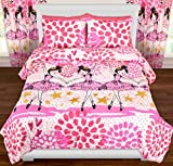 3pc Girls Dancing Ballerina Comforter Full Queen Set, Paint Splash Design, Ballet Dancers, Cute, Twinkle Toes Pink White Purple, Hearts Polka Dots Stars Pattern, Dance Themed Bedding