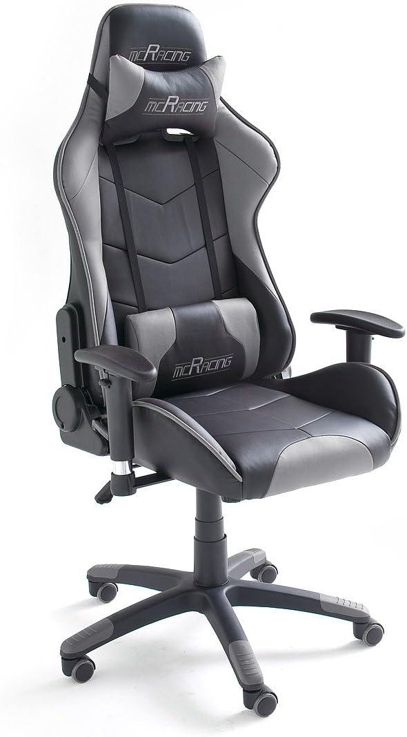 MC Racing 6 Silla Gaming, 60% PU, 40% PVC, Negro y Gris Brillante, 58x69x125 cm