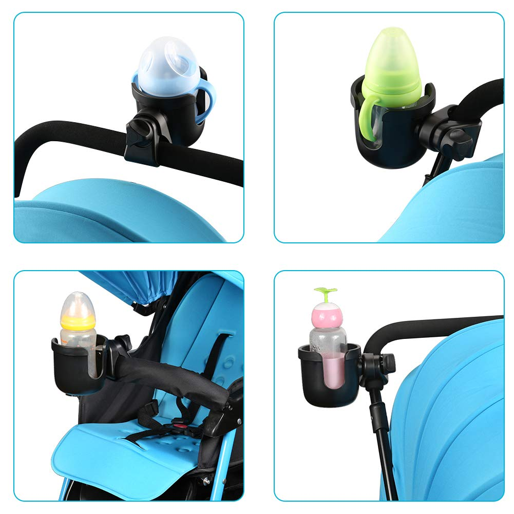 Accmor Universal Cup Holder, Stroller Cup Holder, Large Caliber Designed Cup Holder, Fit for bottle with handle, 360 Degrees Universal Rotation Cup Drink Holder for Baby Stroller, Pushchair Wheelchair by Accmor (Image #6)