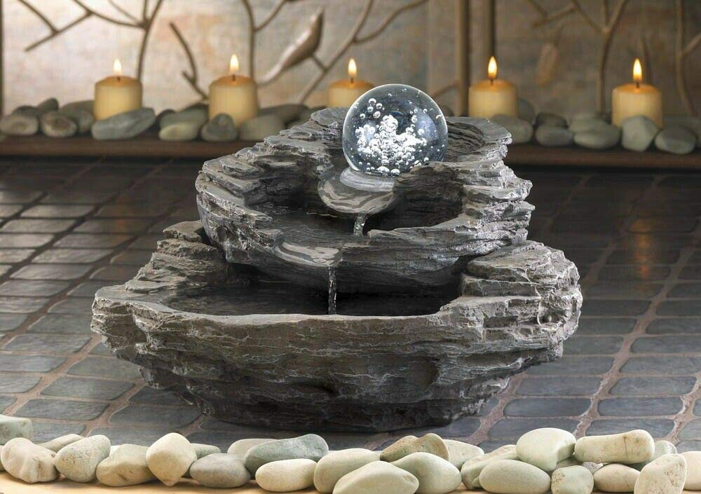 Tabletop Water Fountain Zen Four Tier Bowl Shaped Electrical Pump Included