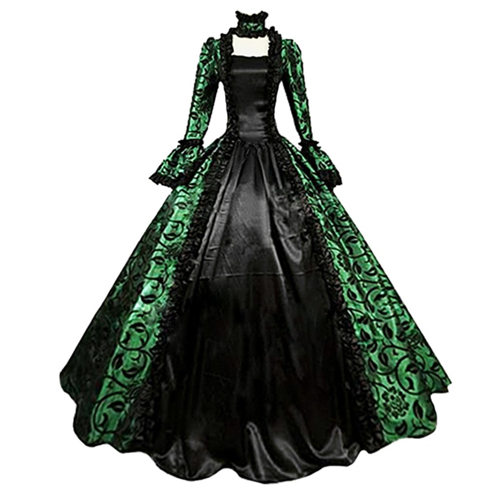 1791's lady Womens Victorian Rococo Dress Maiden Costume (XXXL, Green&Black)