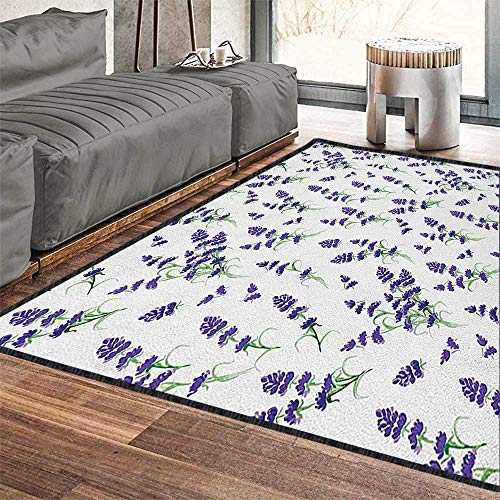 - Flower Contemporary Painting Art Rug,Watercolor Lavender Flowering Fragrant Pale Plant Essential Oil Extract Temperate Suitable for Children to Play Violet Green 71