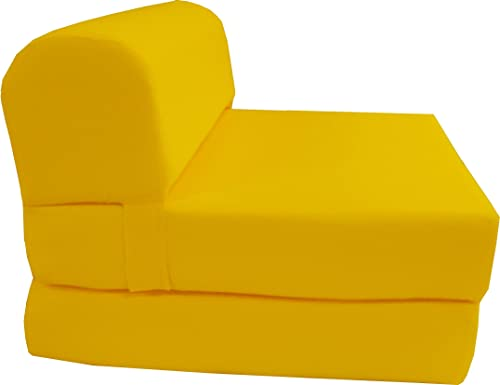 D D Futon Furniture 6 Thick X 36 Wide X 70 Long Twin Size Yellow Sleeper Chair Folding Foam Bed 1.8lbs Density, Studio Guest Foldable Chair Beds, Foam Sofa, Couch.