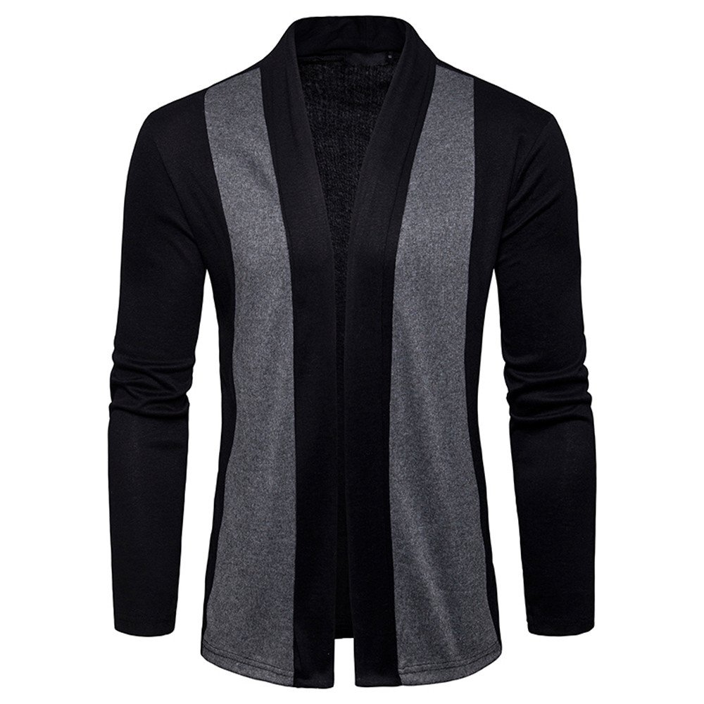 Men's Spring Casual Patchwork Cardigan Knit Knitwear Thin Coat Sweater top Coat Jacket