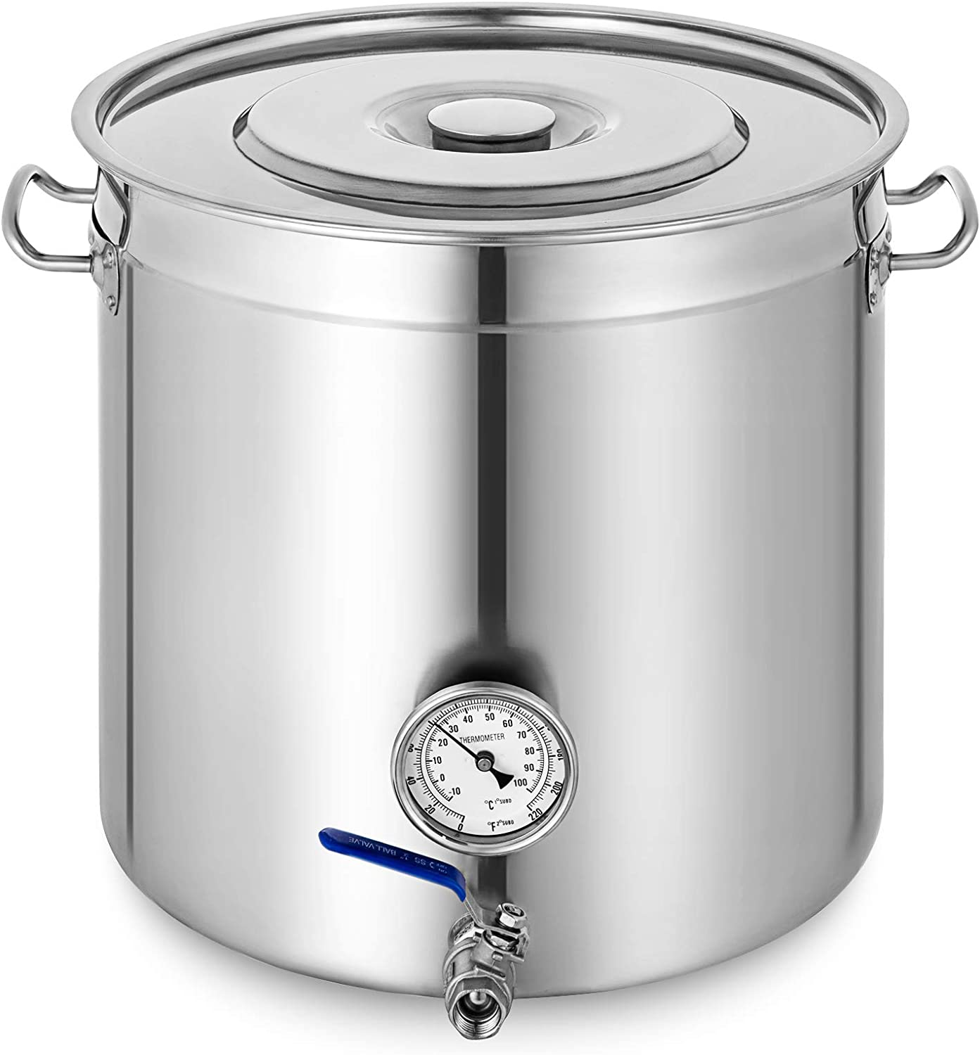 Mophorn Brew kettle Stockpot with Thermometer Stainless Steel Bot Brewing with lid Home Brewing for Beer Brewing, Maple Syrup, Stainless Steel Stock Pot Cookware (135 Quart)