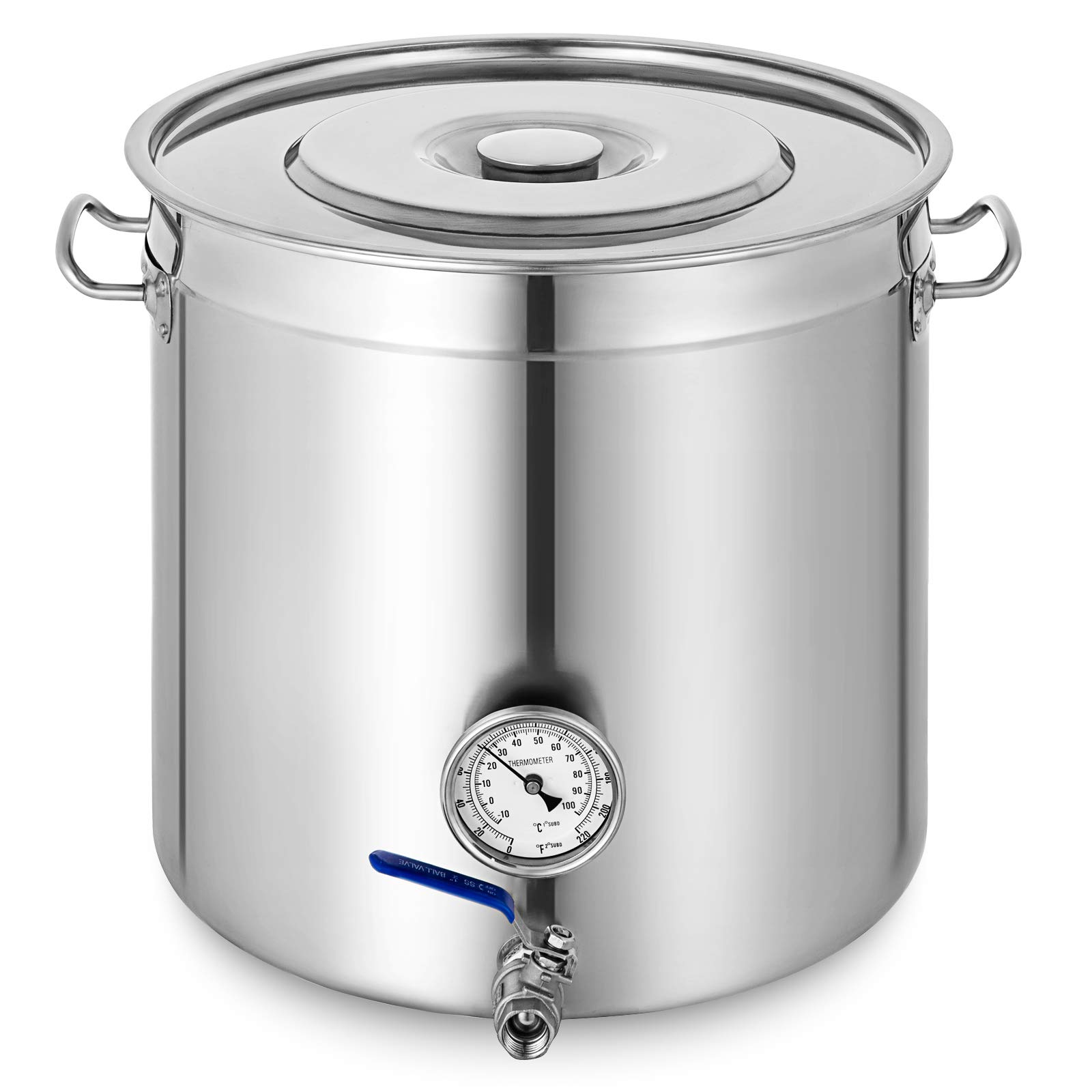 Mophorn Kettle Stockpot Stainless Steel 8.5Gal with Lid & Thermometer for Home Brew and Stock Pot Cookware, 35 Quart With